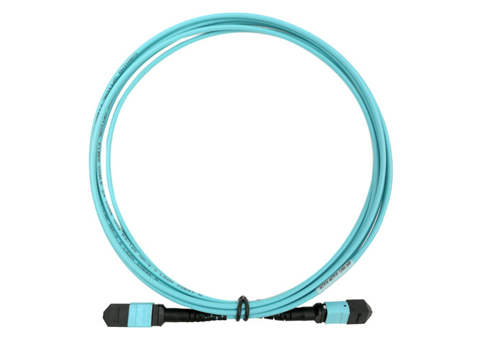 OM4 OM3 24 MTP MPO Fiber Optical Patch Cord 5M LSZH USCONEC Water Blue Color